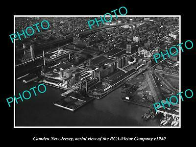OLD LARGE HISTORIC PHOTO OF CAMDEN NEW JERSEY, AERIAL VIEW OF RCA VICTOR c1940