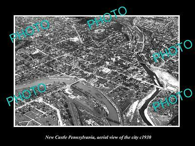 OLD LARGE HISTORIC PHOTO OF NEW CASTLE PENNSYLVANIA, AERIAL VIEW OF CITY c1930
