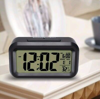 HeQiao LED Clock Slim Digital Alarm Large Display Travel With Calendar Battery