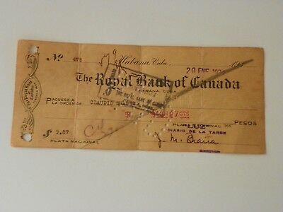 Royal Bank of Canada. Havana Branch. from 1934. interesting old Draft.