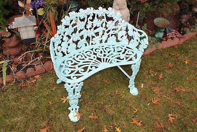 Antique Wrought Iron Garden Bench Seat-Scrolled Flowers-Seafoam Blue Color-Heavy