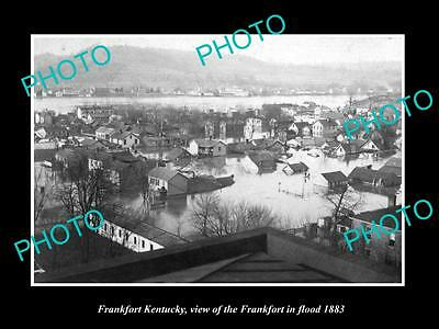 OLD LARGE HISTORIC PHOTO OF FRANKFORT KENTUCKY, THE TOWN IN FLOOD c1883