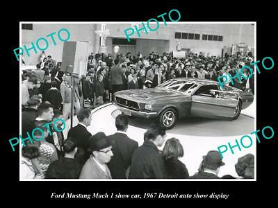 Old Large Historic Photo Of Ford Mustang Mach I 1967 Detroit Motor Show Display