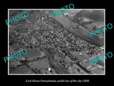 OLD LARGE HISTORIC PHOTO OF LOCK HAVEN PENNSYLVANIA, AERIAL VIEW OF CITY c1940