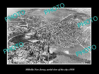 OLD LARGE HISTORIC PHOTO OF MILLVILLE NEW JERSEY, AERIAL VIEW OF CITY c1930