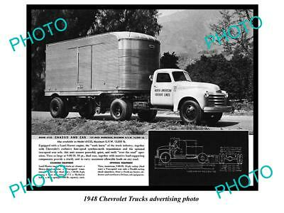 Old Large Historic Photo Of 1948 Chevrolet Truck Advertisment, Chassis & Cab 1