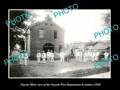 OLD LARGE HISTORIC PHOTO OF FAYETTE OHIO, THE FIRE DEPARTMENT STATION c1910