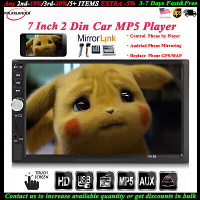 7'' 2 DIN Touch Screen Car Radio Bluetooth Audio Stereo USB/TF/AUX/FM/Remote MP5