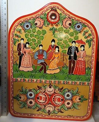 Hand crafted wooden decorative cutting board vintage Russian folk art Gorodets