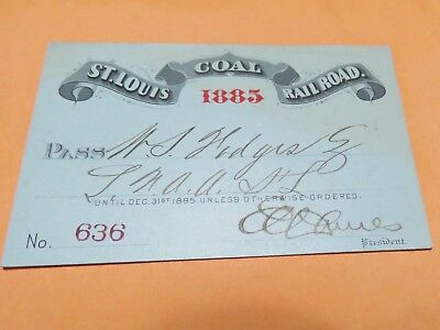 St Louis Coal Railroad Pass 1885
