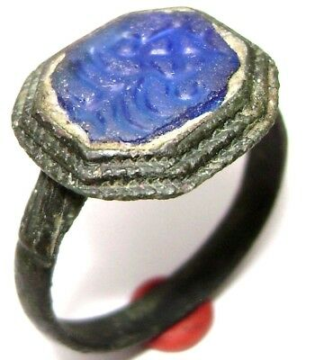 Ancient Medieval bronze ring seal with blue stone. (GEM)