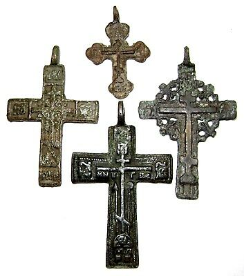 Ancient lot of 4 Rare bronze Believer crosses Middle Ages.
