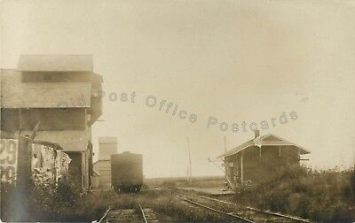 Portland, Kansas-AT&SF Santa Fe Railroad Depot c1910 KS RPPC Real Photo Postcard