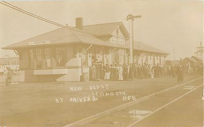 Lexington, Nebraska-New Railroad Depot-Train Station RR RPPC Real Photo Postcard