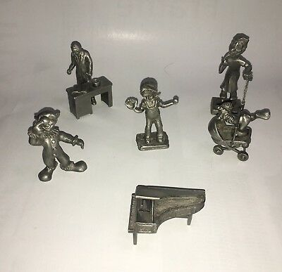 FOUR (4) VINTAGE Rawcliffe Pewter Figurines Fishing Outdoor