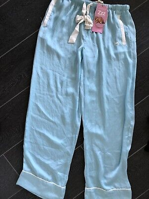 BNWT PETER ALEXANDER Pyjamas Aqua Poly Satin Sleep Pants , Size S RRP$69.95