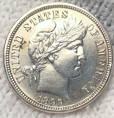 1899-S Barber Liberty Silver Dime, Collectible MS Uncirculated Coin. Pretty!!