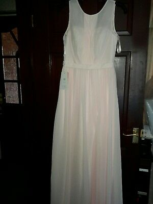 Gorgeous Baby Pink  Chiffon Wedding Dress S 12 Bridal Party ,Cruise Gown  BNWT