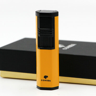 Double Torch Jet Flame Yellow Chrome Steel Cohiba Cigar Lighter w/ Punch