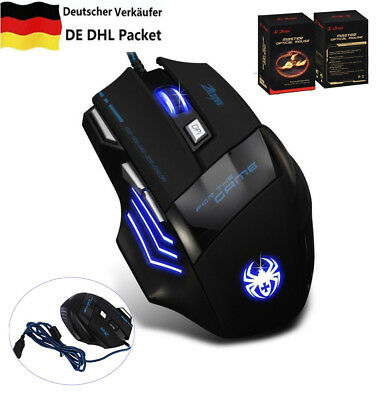 ZELOTES USB Gaming Maus 7200 DPI Optisch Kabel Gewichte 7 Tasten LED PC Gamer