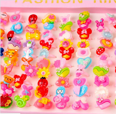 10Pcs X Wholesale Mixed Lots Cute Cartoon Children/Kids Resin Lucite Rings New