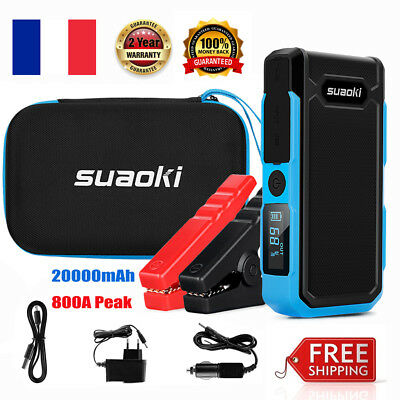 Suaoki 800A Voiture Jump Starter 20000mAh Emergency Auto Battery Booster LCD SOS