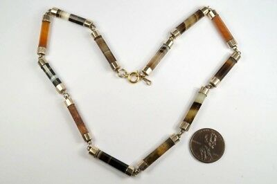 LOVELY ANTIQUE VICTORIAN ENGLISH 9K GOLD BANDED AGATE LINK NECKLACE c1860