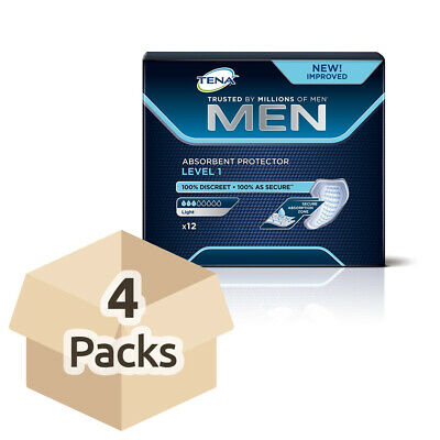 4x TENA Men Absorbent Protector For Men - Level 1 - Pack of 12