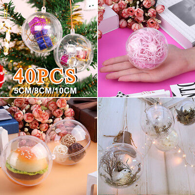 40Pcs Clear Balls Fillable Baubles DIY Sphere Craft For Christmas Tree Ornament