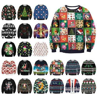 Funny UGLY Christmas Sweater Womens Mens Sweatshirt Long Sleeve Pullover Tops
