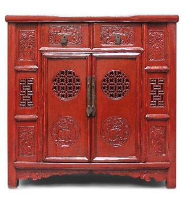 China Kommode rot, chinesisches Highboard, Asia Holz Möbel AsienLifeStyle