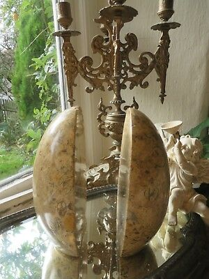 Superb Pair Of Vintage French Egg Shaped Marble Bookends ~ Embedded  Fossils