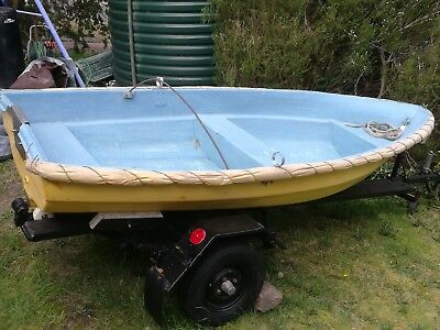 Dinghy tender fibreglass boat 3m with trailer