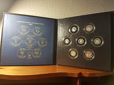 1983 States of Jersey Frosted Sterling Silver 7 Coin Proof Set - Rare