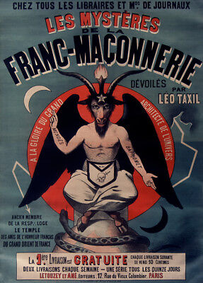 The Mysteries of Freemasonry, Leo Taxil, 1890's, Vintage Freemason Poster
