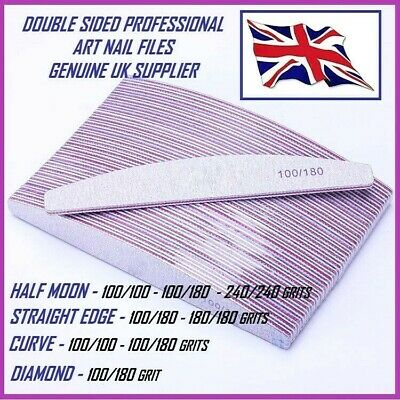 Nail Files 100/180 Grit Quality Double Sided, Zebra Half Moon & Diamond Shapes