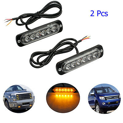 2X12V/24V 6-Cree Amber Flashing Recovery Strobe LED Orange Grill Breakdown Light