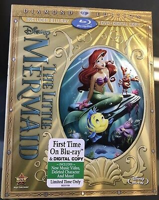 The Little Mermaid (Blu-ray+Digital+DVD, 2013, 2-Disc) NEW OOP W/Slip Cover
