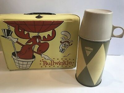 Vintage 1962 Bullwinkle and Rocky Vinyl Lunchbox And Thermos ~ AMAZING!!