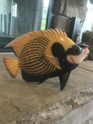 Wooden Blue Yellow  Tropical Fish Statues Figurines Marine Ocean