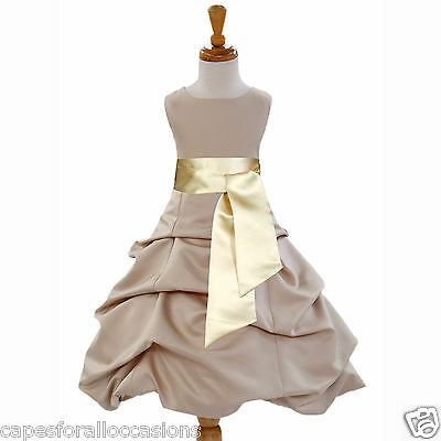 Champagne Toddler Flower Girl Dress Party Wedding 2/3T 4/4T 5T 6 7 8 10 12 14 16