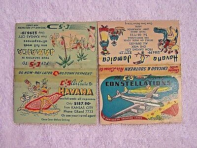 "4 Rare 1940's Chicago & Southern Matchbooks-Dixieliners,""new"" Constellations,etc"