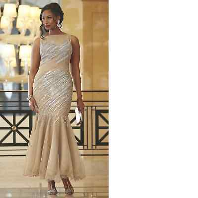 plus size 24W Golden Beaded Diana Gown by Ashro new