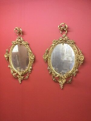 Antique Pair Of Oval Gilt Girondelle Mirrors Candle Sconces Sn-P