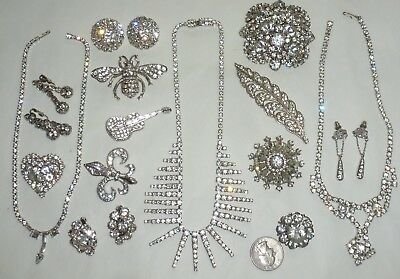 Vintage-Recent Lot 46pc Rhinestone Jewelry Brooches Earrings Necklaces  + Nice!