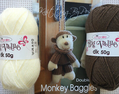 Knitting By Post Monkey Baggles Kit Complete With Wool and Knitting Pattern
