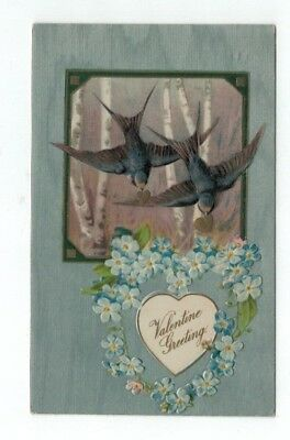 1908 Antique Embossed Valentines Day Post Card Bluebirds Flowers Silver Foil