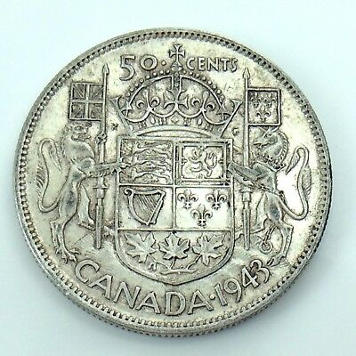 1943 Canada Fifty 50 Cent Half Dollar Canadian Circulated Coin Die Crack H336
