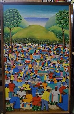 """Framed and Signed Jean Marc Cayo Painting 51"""" x 31"""" Haitian Art"""