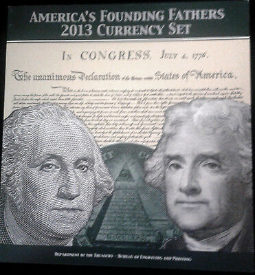 A special B. E. P. America's Founding Fathers 2013 Currency Set - $1 & $2 - NEW